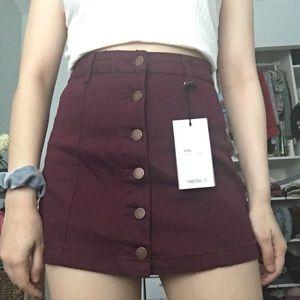 Burgundy denim button up a line skirt